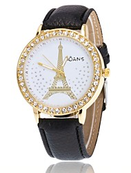 cheap -Women's Simulated Diamond Watch Wrist watch Dress Watch Chinese Quartz Hot Sale PU Band Charm Casual Eiffel Tower Elegant Black White