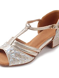 cheap -Latin Shoes Sparkling Glitter / Leatherette Sandal / Heel Practice Buckle Chunky Heel Customizable Dance Shoes Gold