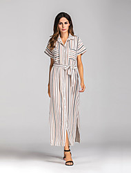 cheap -Women's Daily Street chic Loose Dress,Striped Shirt Collar Maxi Short Sleeves Cotton Spring Summer Mid Rise Inelastic Sheer