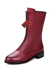 cheap -Women's Shoes Leatherette Winter Fall Motorcycle Boots Combat Boots Boots Chunky Heel Round Toe Mid-Calf Boots Zipper Tassel for Casual