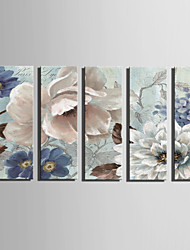 E-HOME Stretched Canvas Art The Flowers Are in Full Bloom Decoration Painting Set Of 5