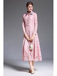 cheap -SHE IN SUN Women's Daily Chinoiserie Lace Dress,Solid Shirt Collar Maxi Long Sleeves Polyester Spring Fall High Rise Inelastic Medium