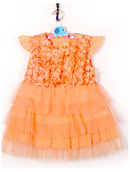 cheap -Girl's Birthday Daily Going out Holiday Solid Dress,Cotton Summer Short Sleeve Lace Blushing Pink