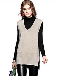 Women's Going out Casual Long Vest,Solid V Neck Sleeveless Cashmere Cotton Acrylic Fall Medium Stretchy