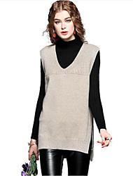 preiswerte -Damen Ausgehen Kaschmir Baumwolle Ärmellos Lang Weste - Solide V-Ausschnitt