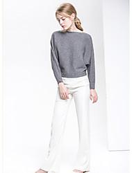 Standard Pullover Da donna-Casual Tinta unita A barca Manica lunga Cotone Autunno Medio spessore Media elasticità