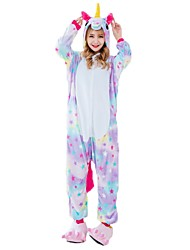 Kigurumi Pajamas Flying Horse Unicorn Onesie Pajamas Costume Flannel Fabric Rainbow Cosplay For Adults' Animal Sleepwear Cartoon Halloween