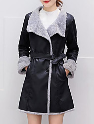 Women's Plus Size Casual/Daily Simple Fall Winter Fur Coat,Solid Shirt Collar Long Sleeve Long PU