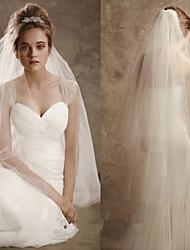 Duas Camadas Corte da borda Véus de Noiva Véu Ruge Véu Cotovelo Com Fru-Fru Tule