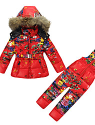 Girls' Floral Sets,Cotton Winter Long Sleeve Clothing Set