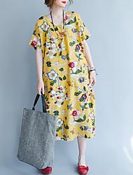 Ample Robe Femme Grandes Tailles Vintage,Fleur Col Arrondi Midi Manches Courtes Lin Automne Taille Haute Non Elastique Moyen