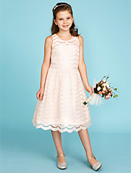 A-Line Princess Jewel Neck Knee Length Lace Junior Bridesmaid Dress with Pleats by LAN TING BRIDE®