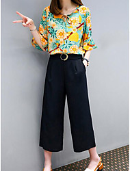 cheap -Women's Going out Vintage Summer Blouse Pant Suits,Solid Floral Round Neck ¾ Sleeve Cotton