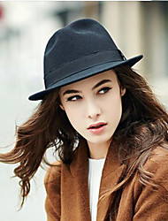 Women's Cotton Wool Blends Fedora Hat,Headwear Solid Autumn Winter Pure Color
