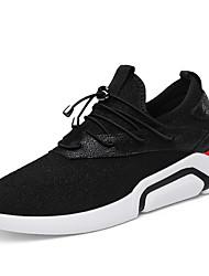 Femme Chaussures Similicuir Printemps Automne Confort Chaussures d'Athlétisme Marche Plateforme Bout rond Pour Décontracté Noir