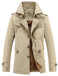 Men's Daily Simple Casual Winter Fall Trench Coat,Solid Peaked Lapel Long Sleeve Regular Others