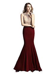 Mermaid / Trumpet Jewel Neck Floor Length Satin Chiffon Rehearsal Dinner Formal Evening Dress with Beading by Sarahbridal