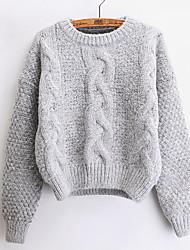 Standard Pullover Da donna-Per uscire Casual Sensuale Romantico Tinta unita Rotonda Manica lunga Lana d'angora Autunno Inverno Medio