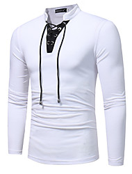 Men's Daily Sports Casual Spring Fall T-shirt,Solid V Neck Long Sleeves Cotton Thin
