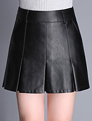 cheap -Women's Daily Mini Skirts,Casual Bodycon PU Solid Winter Fall