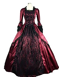 cheap -Victorian Rococo Costume Women's Dress Masquerade Party Costume Red Vintage Cosplay Satin Sleeveless Knee Length Floor Length