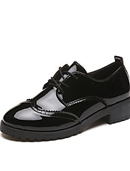 Women's Shoes PU Fall Comfort Oxfords Low Heel Round Toe Lace-up For Casual Black