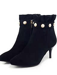 Women's Shoes Flocking Fall Winter Fashion Boots Boots Stiletto Heel Booties/Ankle Boots Imitation Pearl Zipper For Office & Career Dress
