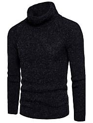 Standard Pullover Da uomo-Per uscire Casual Semplice Sensuale Moda città Tinta unita A collo alto Manica lunga Cotone Poliestere Autunno