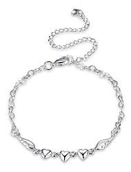 Femme Bracelet de cheville/Bracelet Zircon Plaqué argent Mode Vintage Style Punk Personnalisé Hypoallergique Forme de Coeur Forme