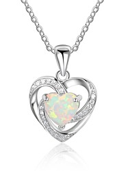 cheap -Women's Heart Luxury Pendant Necklace Synthetic Opal Sterling Silver Pendant Necklace , Gift