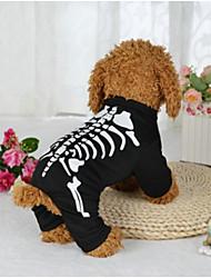 Недорогие -Собака Костюмы Одежда для собак Хэллоуин Черепа Черный Костюм Для домашних животных