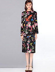 Mary Yan & Yu Women's Party Casual/Daily Cute Street chic A Line Dress,Floral Round Neck Midi Long Sleeves Polyester Spandex Fall Winter Mid Rise