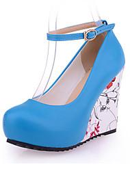baratos -Mulheres Sapatos Couro Ecológico Inverno Outono Conforto Saltos Salto Agulha Salto Plataforma Ponta Redonda Presilha para Casamento