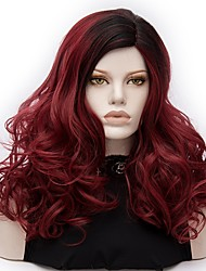 Women Synthetic Wig Capless Medium Deep Wave Dark Red Ombre Hair Halloween Wig Costume Wigs