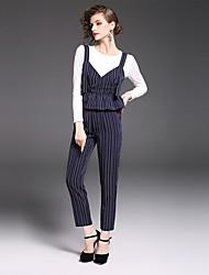 YIYEXINXIANG Women's Casual/Daily Work Sophisticated Fall T-shirt Pant Suits,Striped Round Neck Long Sleeve