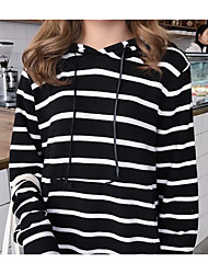 Women's Sports Casual/Daily Hoodie Striped Hooded Micro-elastic Cotton Long Sleeve Spring Fall