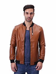 cheap -Men's Daily Plus Size Simple Casual Spring Fall Leather Jacket,Solid Stand Long Sleeve Regular PU