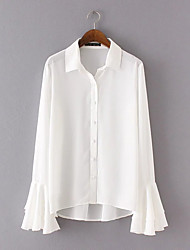 Women's Holiday Casual/Daily Simple Street chic Shirt,Solid Shirt Collar Long Sleeves Polyester