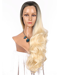 cheap -Women Synthetic Wig Lace Front Long Wavy Blonde Ombre Hair Dark Roots Natural Hairline Party Wig Celebrity Wig Halloween Wig Cosplay Wig