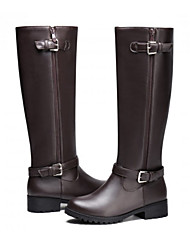 cheap -Women's Shoes PU Fall Winter Comfort Novelty Fashion Boots Boots Flat Heel Round Toe Thigh-high Boots Buckle Zipper For Office & Career