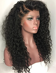 cheap -Human Hair Full Lace / Glueless Full Lace Wig Brazilian Hair Kinky Curly 130% Density African American Wig / 100% Hand Tied Women's Long Human Hair Lace Wig