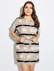 preiswerte -Damen A-Linie Kleid-Lässig/Alltäglich Übergröße Sexy Einfach Gestreift V-Ausschnitt Mini Kurzarm Polyester Sommer Mittlere Hüfthöhe
