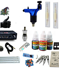 cheap -Starter Tattoo Kit 1 rotary machine liner & shader Tattoo Machine LCD power supply 1 × 5ml Tattoo Ink 1 x aluminum grip 2 x disposable