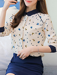 cheap -Women's Daily Going out Casual Winter Fall Blouse,Print Shirt Collar Long Sleeves Polyester Medium