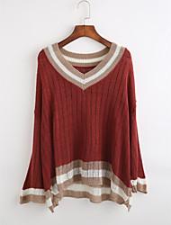 preiswerte -Damen Standard Pullover-Lässig/Alltäglich Einfach Gestreift Tiefes V Langarm Acryl Herbst Winter Dünn Mikro-elastisch