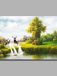 cheap -Hand-Painted Landscape Horizontal,Artistic Nature Inspired Birthday Modern One Panel Oil Painting