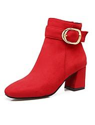 Feminino Sapatos Pele Nobuck Outono Inverno Conforto Botas Salto Grosso Ponta quadrada Presilha Ziper Para Preto Cinzento Vermelho