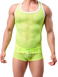 baratos -Homens Malha Íntima - Esportes Activo Sólido Estampa Colorida Decote Redondo Skinny
