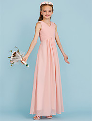 cheap -Sheath / Column V Neck Floor Length Chiffon Junior Bridesmaid Dress with Criss Cross / Pleats by LAN TING BRIDE® / Wedding Party / Open Back