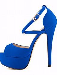 Damen Schuhe PU Sommer Pumps Sandalen Stöckelabsatz Peep Toe Für Normal Party & Festivität Schwarz Blau Mandelfarben